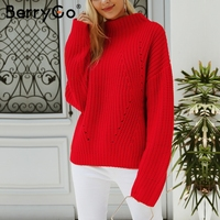 BerryGo Short red knitted winter sweater female Casual warm loose pullover women Streetwear tricot pull femme jumper 2018