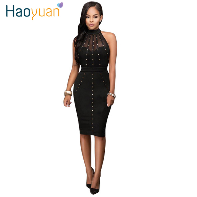 HAOYUAN Summer Dress 2017 Womens Sexy Dresses Party Night Club Wear Ladies Bodycon Black Red Mesh Pencil Midi Dress Vestidos