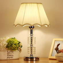 TUDA Free Shipping Vintage Luxury Crystal Table Lamp E27 Living Room Bedroom Bedside White Fabric Table Lamp Shade 110-220V