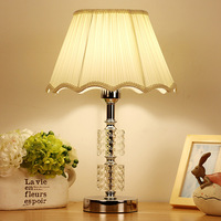 TUDA Free Shipping Vintage Luxury Crystal Table Lamp E27 Living Room Bedroom Bedside White Fabric Table Lamp Shade 110 220V