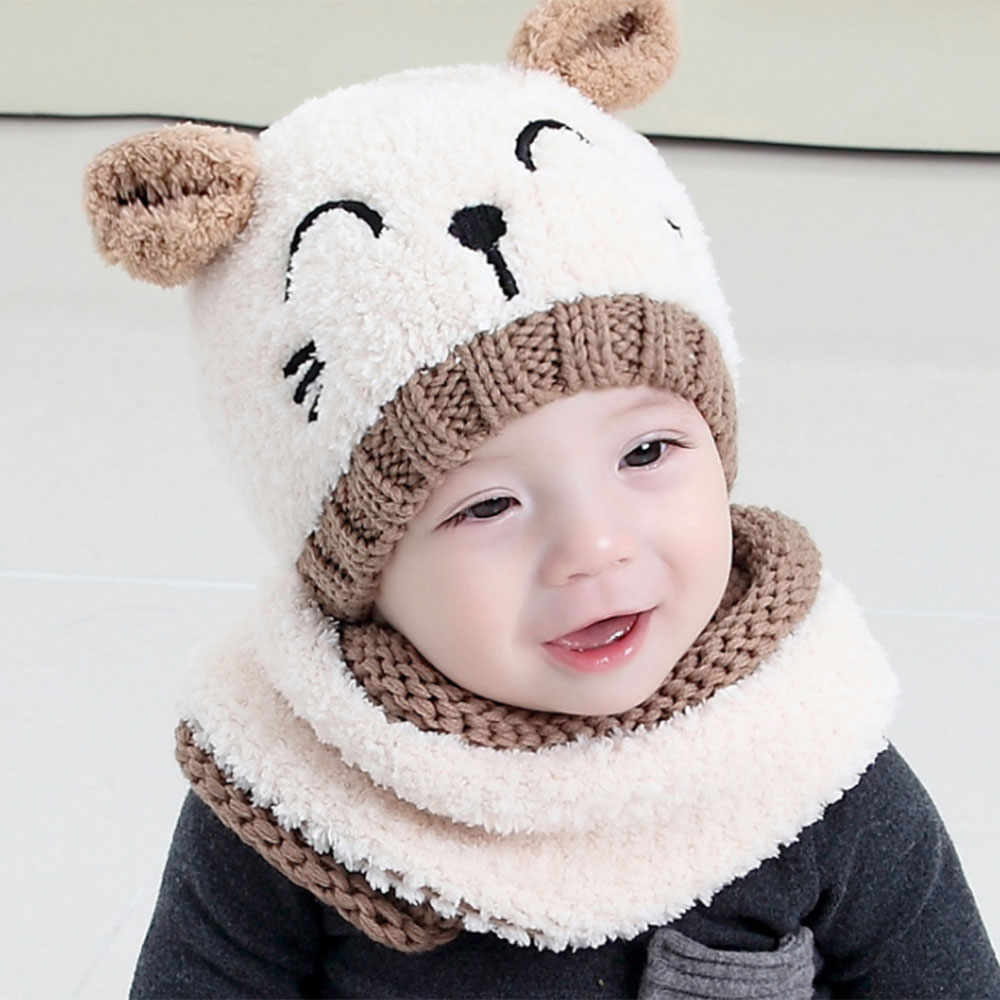 Cute Girl Boy Knitted Cap Winter Scarf Ear Flap Warm Hat Suit For 1-3 Yrs Toddler Kids Beanies Scarfs Set Wholesale 2019 New