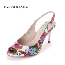 Peep Toe Leather shoes Heels Fashion Sandals Women Summer shoes 2016 wedges Open Toe Thick Heel WOMAN Free shipping BASSIRIANA