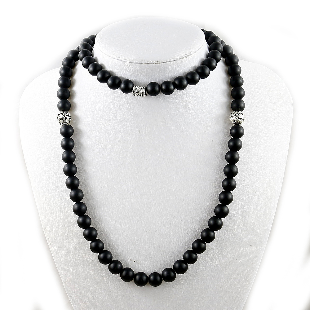 Mala Necklace Beads Handmade Black Jewelry Energy Natural 10mm Onyx Matte Men