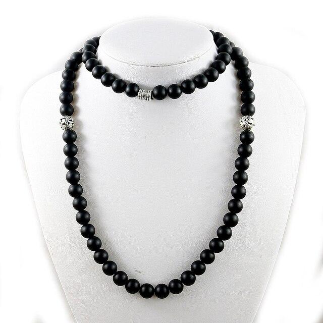 Tự nhiên Matte Black Onyx Dây Chuyền Làm Bằng Tay 10 mét Beads Mala Vòng Cổ Vòng Cổ Dài Năng Lượng Người Đàn Ông Trang Sức