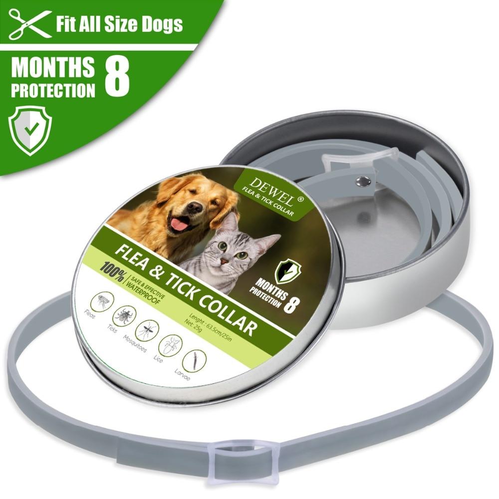 Dewel Anti Flea Ticks Insect Mosquitoes 8 Months Protection Waterproof Long Lasting Dog Collar Custom Puppy Cat Pet Collars 2
