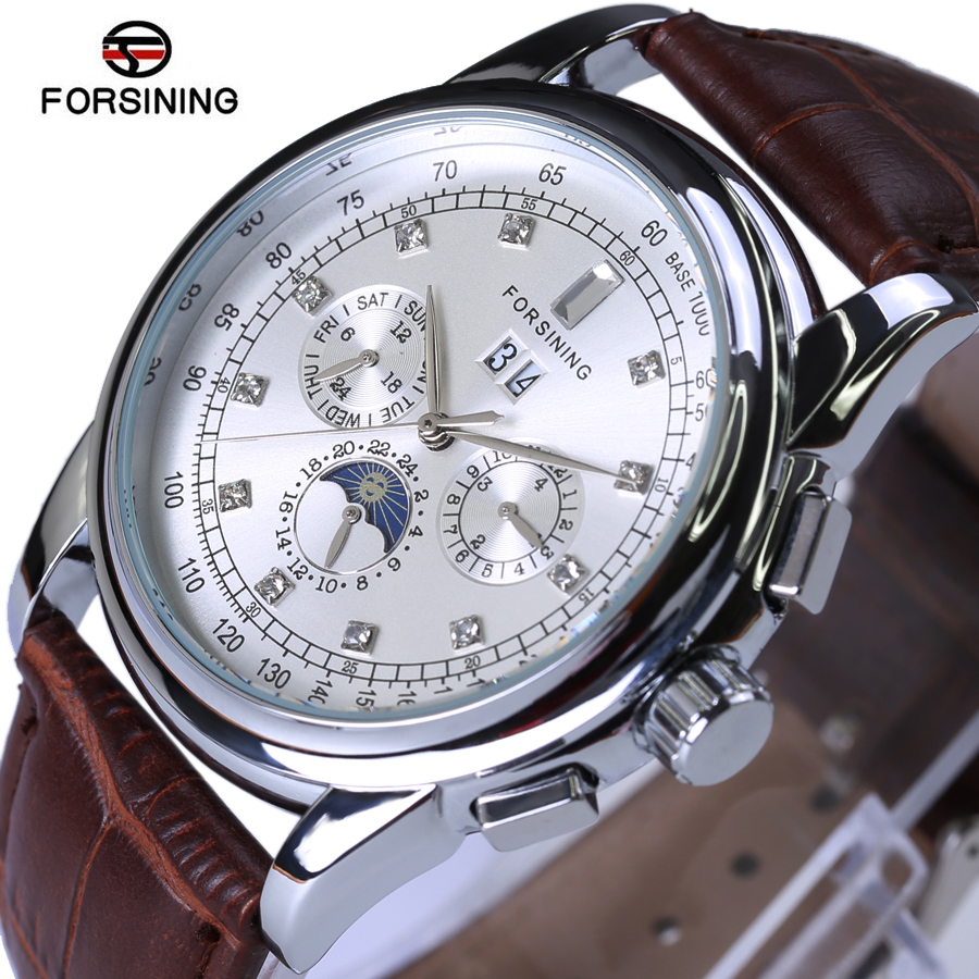 Forsining Moon Phase Mechanical Men Watch Silver Case Brown Genuine Leather Strap Mens Watches Top Brand Luxury Automatic Watch sollen mens watches top brand luxury moon phase automatic mechanical watch men casual fashion leather strap skeleton wristwatch