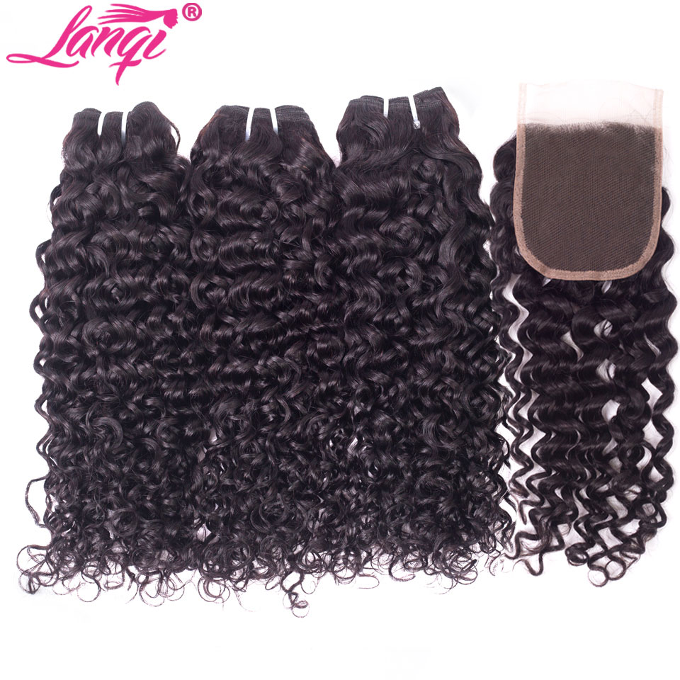 lanqi Peruvian hair bundles with closure nonremy human hair weave bundles with closure Brazilian water wave bundles with closure-in 3/4 Bundles with Closure from Hair Extensions & Wigs