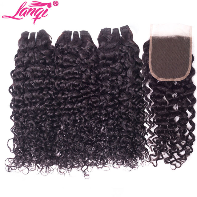 $ US $36.36 lanqi Peruvian hair bundles with closure nonremy human hair weave bundles with closure Brazilian water wave bundles with closure