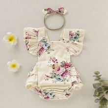Летний милый детский комбинезон с повязкой-бантом для маленьких девочек, одежда с цветочным принтом, летний костюм, детский комплект одежды для детей 0-18 месяцев