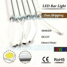Best Price! 5pcs led rigid strip 72leds 12V SMD 5050 1m led bar light rgb 100cm with U aluminum profile PC milky/clear cover