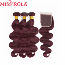 Miss Rola Hair Pre colord Brazilian Body Wave Hair Weaving 3 Bundles With Closure 99J Color