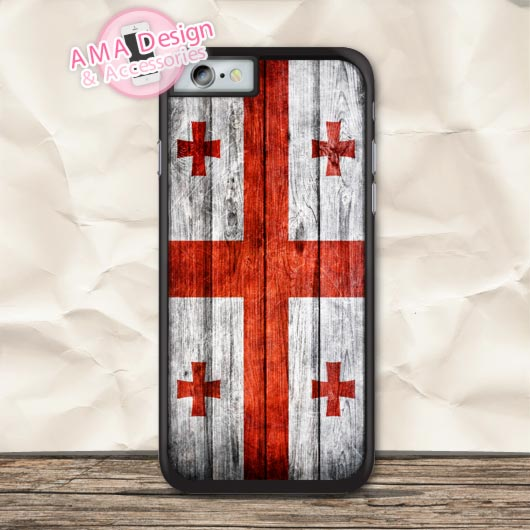 Georgia Grunge Flag On Wood Case For iPhone X 8 7 6 6s Plus 5 5s SE 5c 4 4s For iPod Touch