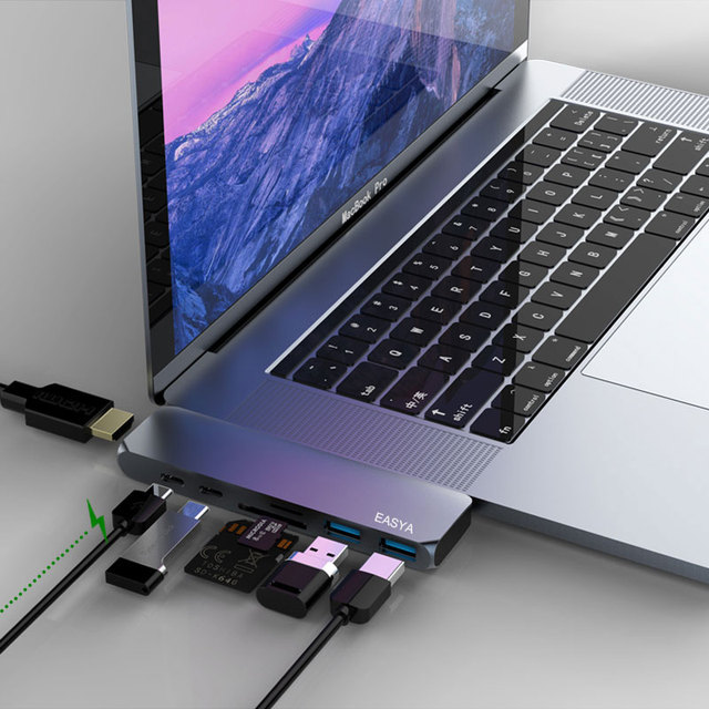 EASYA Dual Ports USB C Hub To HDMI 4K with TF SD Reader Slot Hub 3.0 PD Thunderbolt 3 Adapter for MacBook Pro/Air 2018 Type-C