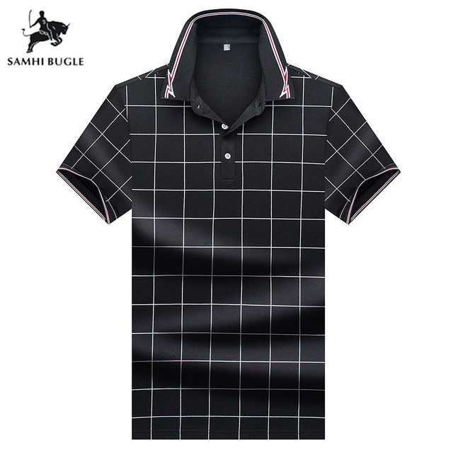 bd4869857 US $18.87 49% OFF|Aliexpress.com : Buy Mens Clothing 2019 Summer fashion  polo shirt men brand Business polo plain print lapel pin flower for men  from ...