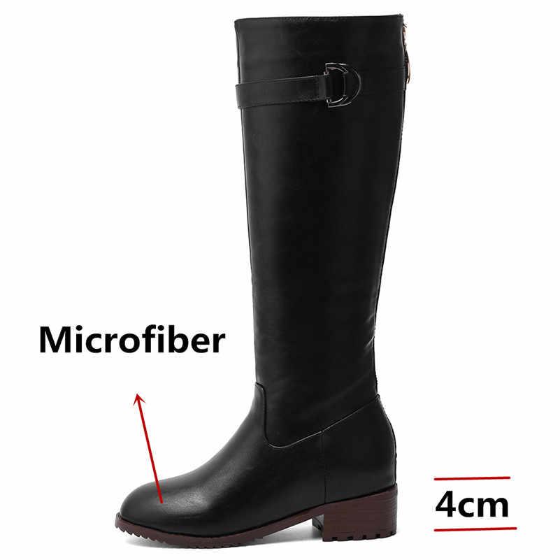 FEDONAS 2020 Yuvarlak Ayak Yüksek Topuklu Mikrofiber Deri Kadın Diz Yüksek Çizmeler Fermuar Uzun Çizmeler Seksi binici çizmeleri parti ayakkabıları Kadın