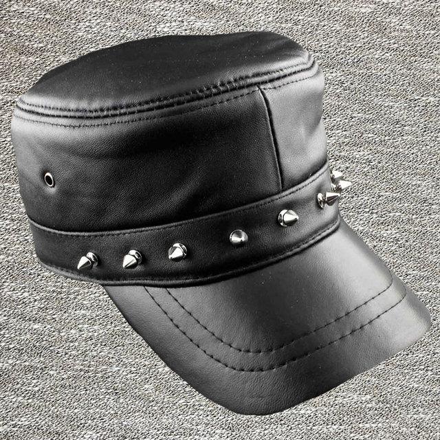 Nova moda couro genuíno preto hiphop viseiras baseball caps punk rivet chapéus ajustáveis strapback casquette homme vestuário LT215