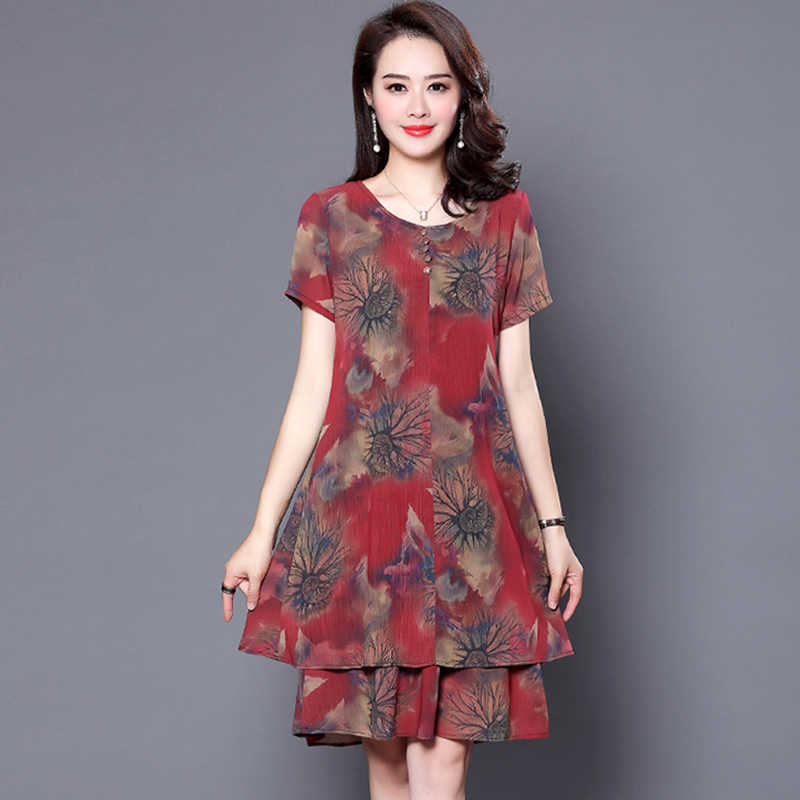 ... Spring Autumn Vintage Floral Chiffon Midi Dress Plus Size Boho Dresses  2019 New Elegant Women Party ... ef359f28cb7d