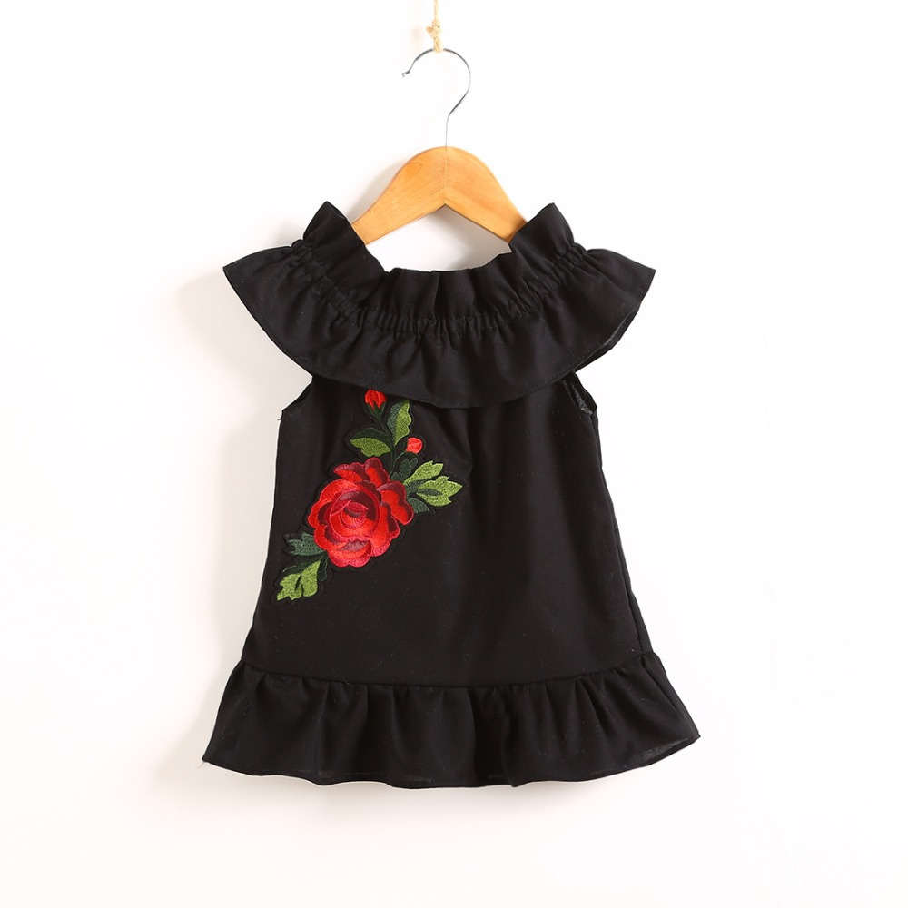 Mabeezo 2018 summer new word shoulder lotus leaf embroidery flower fashion baby girl dress 0-1 year old girl clothes 136GD0528
