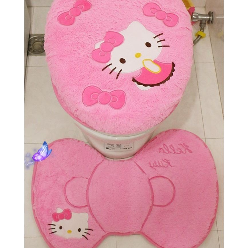 593bc79b9 4PCS/SET Hello Kitty Pink Cartoon Soft Bathroom Toilet Seat Lid Cover Bath  Mat Holder Carpet Seat Cushion Rings Toilet Set-in Toilet Seat Covers from  Home ...