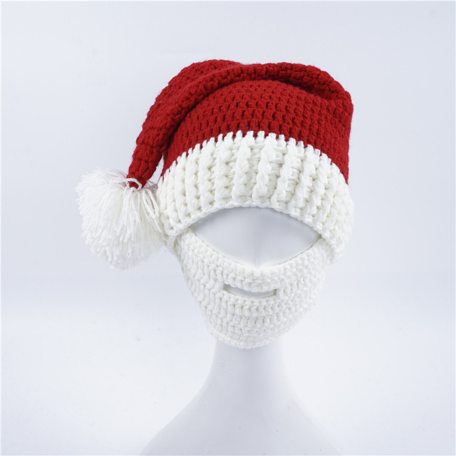 0a976983bab 2017 Novelty Beard Santa Claus Beanies Men s Women s Funny Christmas Hats  Xmas Party Mask Handmade Winter Warm Gorros Gifts