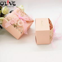 50 Pcs Pink Laser Cut Gift Bag Candy Box Wedding Party Favors Package Birthday Cardboard Boxes Chocolate Bonbonniere Dragees