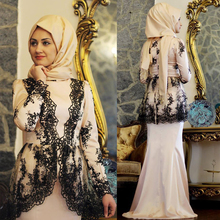 Long Sleeve Hijab Evening Dress with Lace Appliques Saudi Arabia Islamic Formal Evening Gown robe de