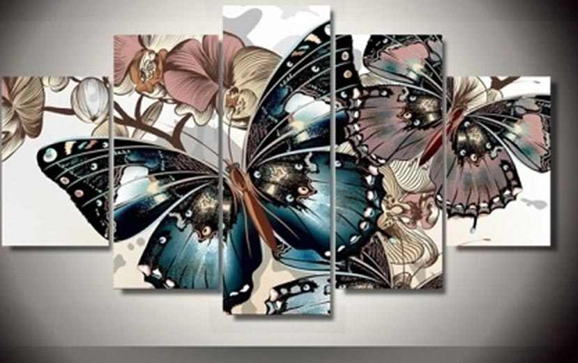 5 Pieces/set Butterflies Wall Art Pictures for Home Decoration abstract Painting Print on Canvas Fresh Red Flower Framed