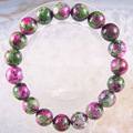 """Free Shipping Stretch 10mm Round Beads Natural Stone Green Red epidote Bracelet 8"""" 1Pcs LH1742"""