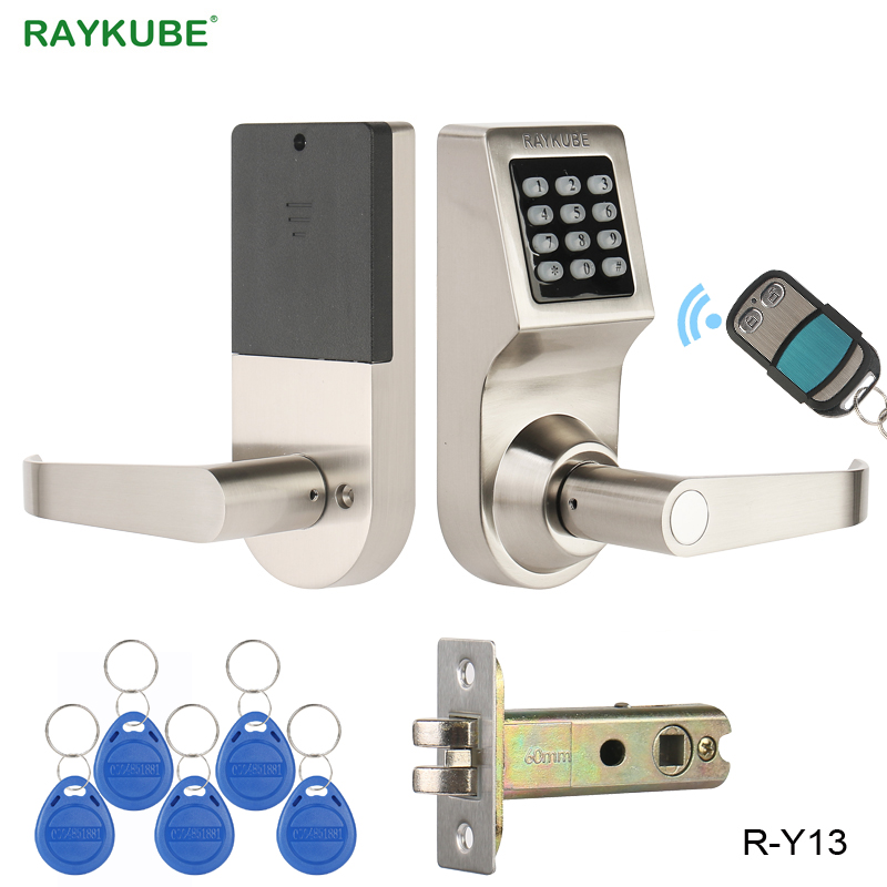 RAYKUBE Password Electronic Door Lock With Digital Keypad Remote Control RFID Key Unlock Intelligent Lock Wooden