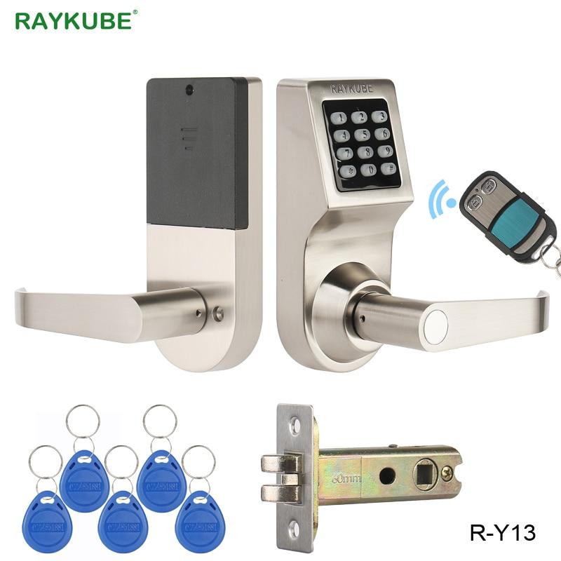 Cerradura de puerta electrónica con contraseña RAYKUBE con teclado Digital Control Remoto RFID llave desbloqueada cerradura inteligente puerta de madera R-Y16
