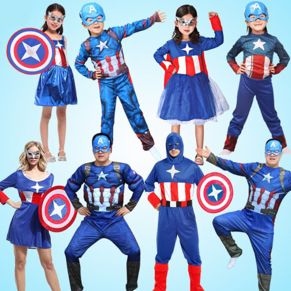 Family Matching Outfits Captain America Cosplay Costume Girls Boys Mom Dad Halloween Family Masquerade Costume Dress  sc 1 st  Aliexpress & Online Shop Halloween Superman Costume For Family Matching Dad Mom ...