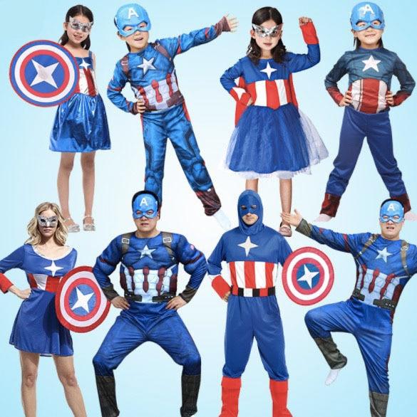 e81c6e177 Family Matching Outfits Captain America Cosplay Costume Girls Boys Mom Dad  Halloween Family Masquerade Costume Dress SA1360