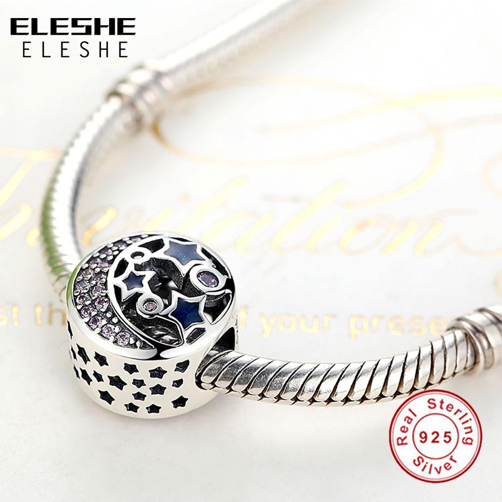ELESHE Autentyczne 925 Srebro Koraliki Niebieski Kryształ Pet Paw - Modna biżuteria - Zdjęcie 5