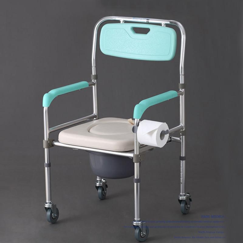 1x Folding Mobile Adult Potty Chair 4 Wheels Wheelchair Toilet ...