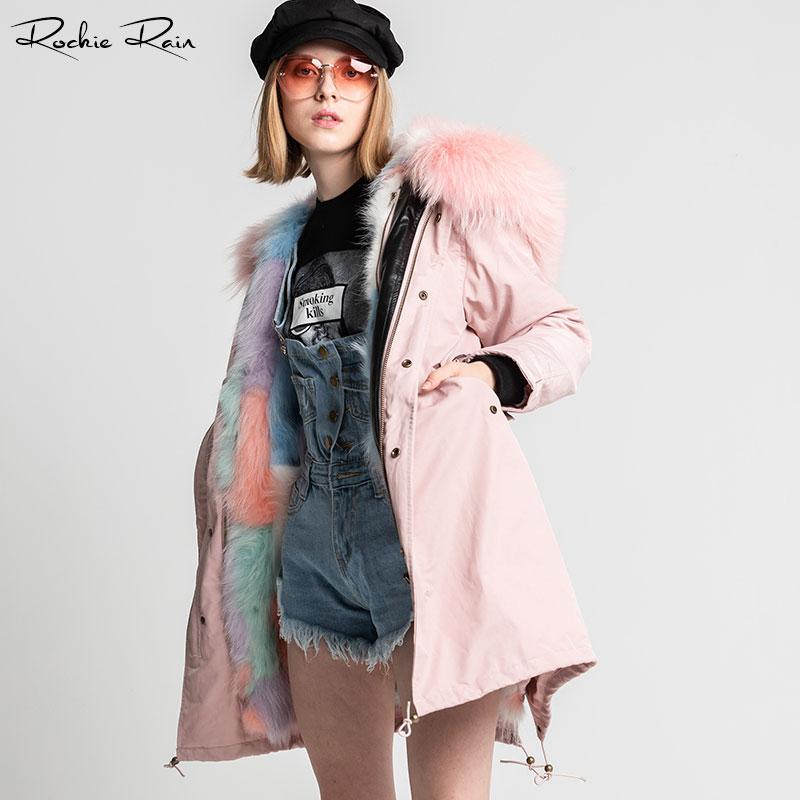 Réel Avec Raton Col Pink De Laveur Doublure Manteau Parka Fourrure Amovible Femmes x6wqIFZF