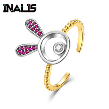 INALIS Classic Luxury Real Solid 925 Sterling Silver Ring Zircon Rabbit Wedding Jewelry Rings Engagement For Women Gold Plated e jewelry 925 sterling silver star rings for women 18k gold plated wedding engagement ring silver 925 fashion jewellery 2019