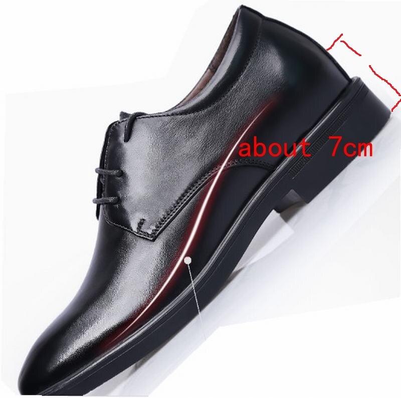 Festa Cyabmoz Black Rendas Homens Shoes Saltos Genuíno Invisivelmente Crescente Até Elevador Vestido De Altura Cm Couro Negócios 7 Homem Sapatos Escondidos nwYRwS6q