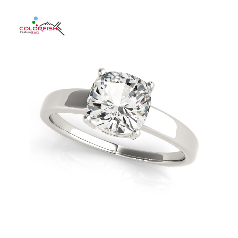 COLORFISH Cushion Square Cut 0.6 Ct Luxury SONA Synthetic Ring Vintage Bridal Engagement Lover Finger Ring Women Wedding Jewelry