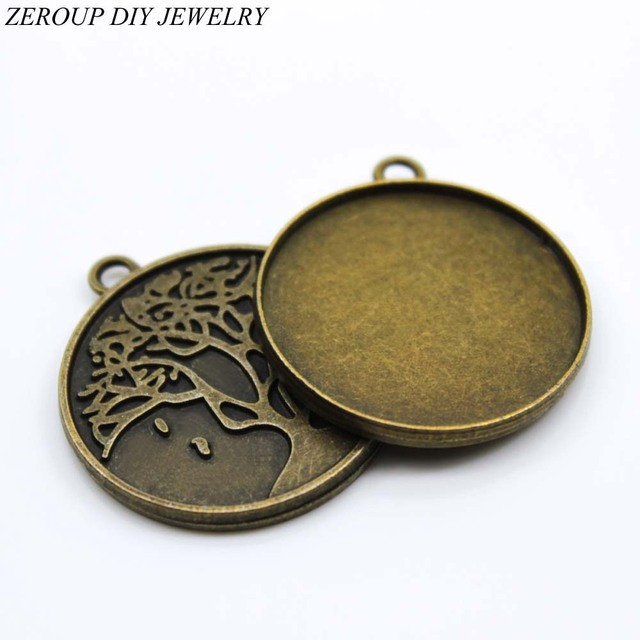 Zeroup 5pcslot 30mm necklace pendant setting antique bronze silver zeroup 5pcslot 30mm necklace pendant setting antique bronze silver glass cabochon blank base supplies aloadofball Choice Image