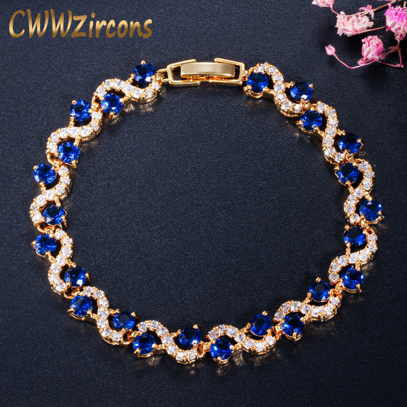 CWWZircons Design Trendy Gold Color White Cubic Zirconia Stone and Dark Blue Crystal Bracelet for Women Jewelry Gift CB193
