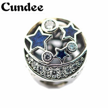Vintage Night Sky Blue Charm Beads Fit Pandora Charms Silver 925 Original Bracelet Women Fashion DIY Jewelry Making Winter Style