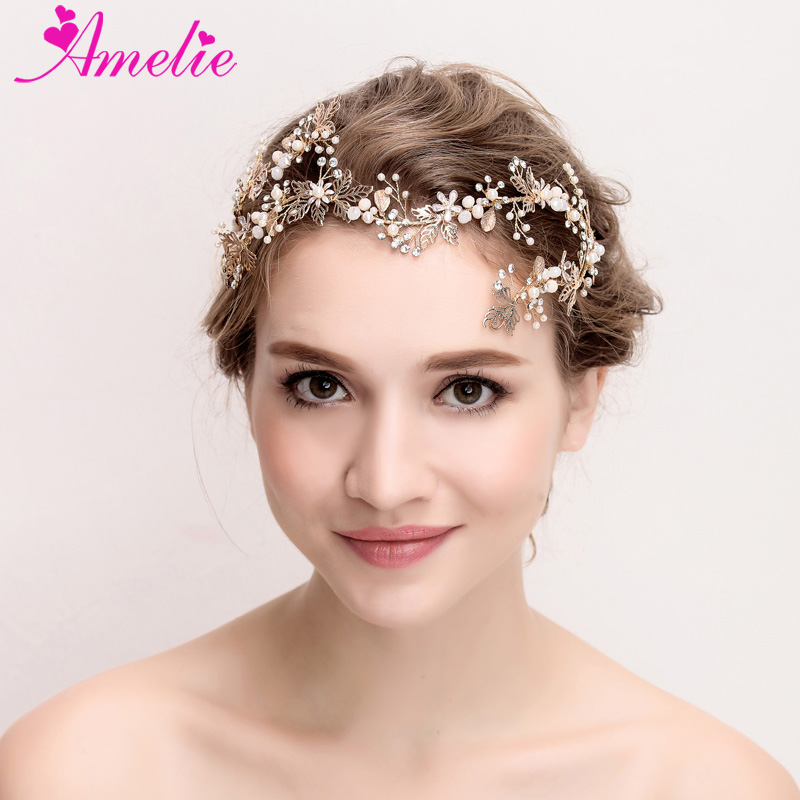 Us 23 31 22 Off New Cute Handmade Gold Victorian Wedding Dress Accessories Crown Bridal Wedding Pageant Tiara Women Headpiece Prom Dresses Halo In