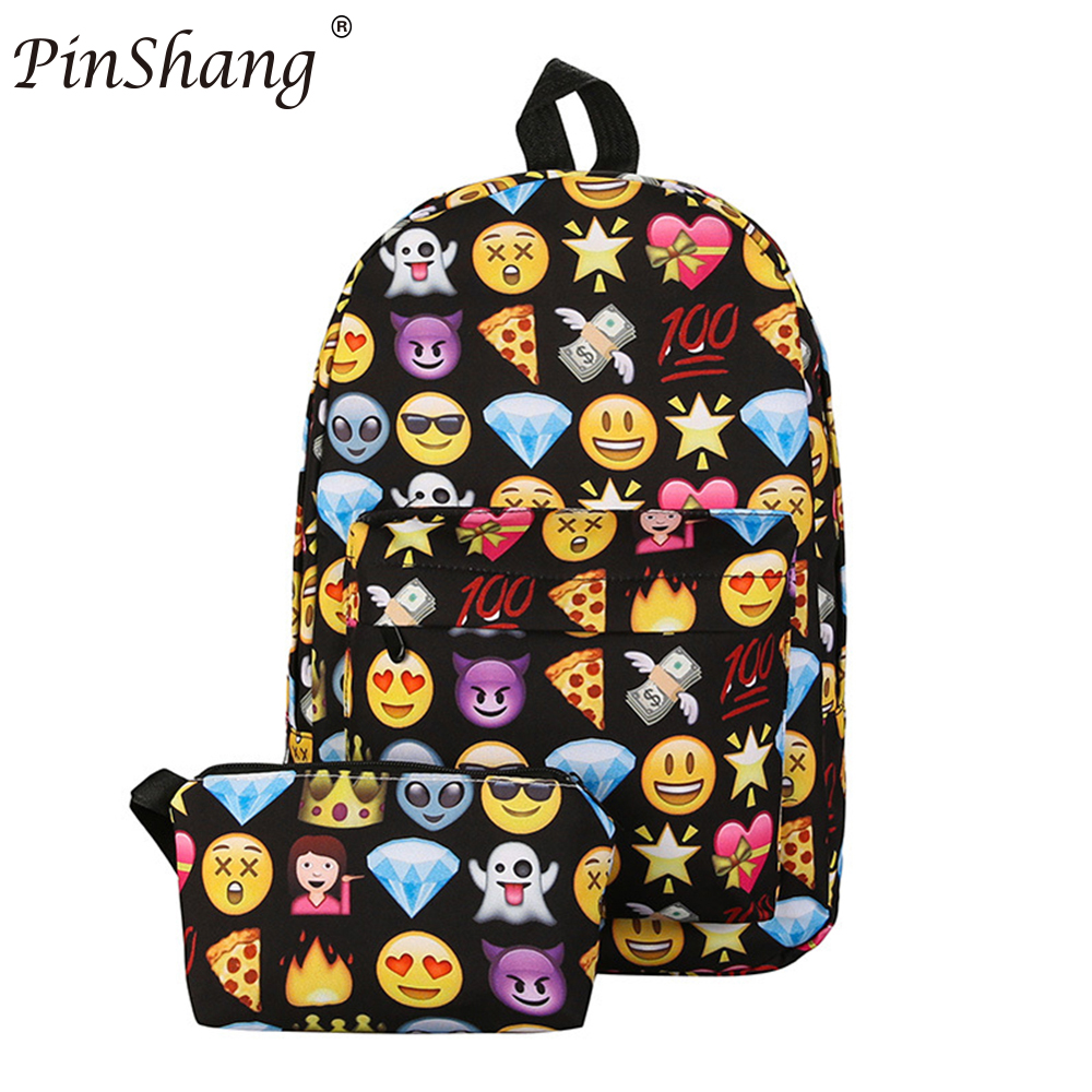 PinShang Fashion Nylon Zipper Smiley Face Facial Expression Backpack Casual Travel Large Capacity Knapsack Bag for Teenagers Z25