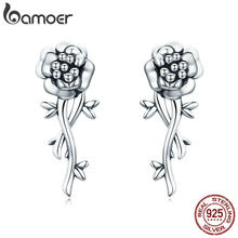 BAMOER 100% 925 Sterling Silver Pomegranate Flower Romantic Love Drop Earrings for Women Wedding Engagement Jewelry S925 SCE336(China)