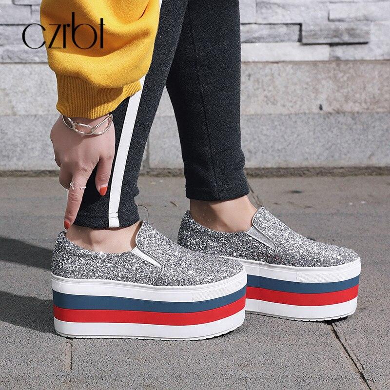Fond Chaussures Glissement Bling black silvery Plate Czrbt Automne De Occasionnels 775 Plates 2018 Back Mocassins Épais Haute 775 772 Femmes Sur Des forme agn1WXn8q