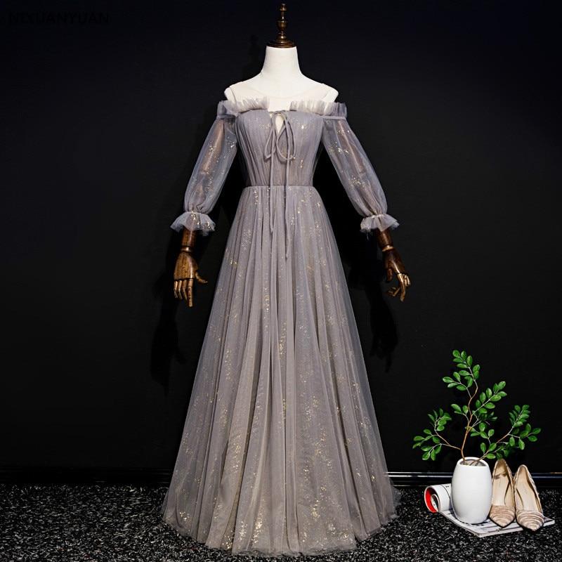 Robe De soirée Sexy col en v Robe De soirée 2019 Tulle gris De haute qualité avec robes De soirée pailletées Photo réelle Vestido De Festa