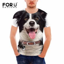 FORUDESIGNS Funny 3D T Shirt for Men Brand Designer Cotton Teens Boys Top Tees Animal Dog Printing Bodybuilding Fitness T-shirts