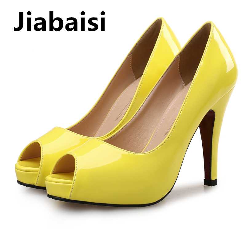 Jiabaisi shoes Women pumps Peep toe Platform Womens Spike Heel Shoes Patent PU leather Large size Simple Party dress Heel pumps in Women 39 s Pumps from Shoes