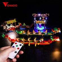 Vonado Lighting Building Block for Lego 80103 Chinese Seasonal Set Dragon Boat Race LED Light Toys For Children In P133