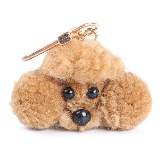 Bonito Bugiganga Mini PomPom Chaveiro Mulheres Fofo De Pelúcia Cão Poodle Boneca de Brinquedo Saco de Chaveiro Carro Chaveiro Acessórios DIY